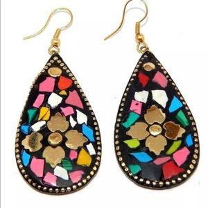 Tibetan small stone German silver earrings
